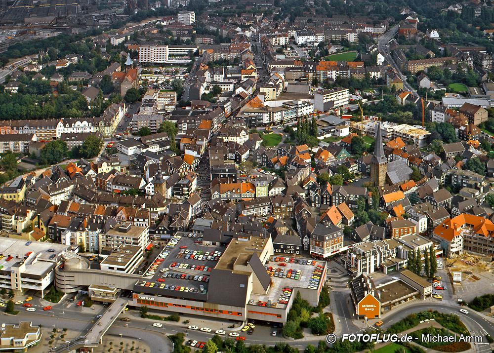 Luftbild von Hattingen im Jahr 1984 (Ortskern)