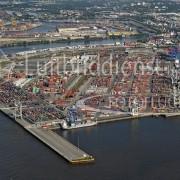 Schrägluftbild Hamburg-Waltershof, Containerterminals