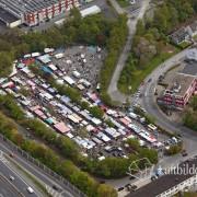15k2_08116 02.05.2015 Luftbild Wuppertal Unterbarmen Flohmarkt